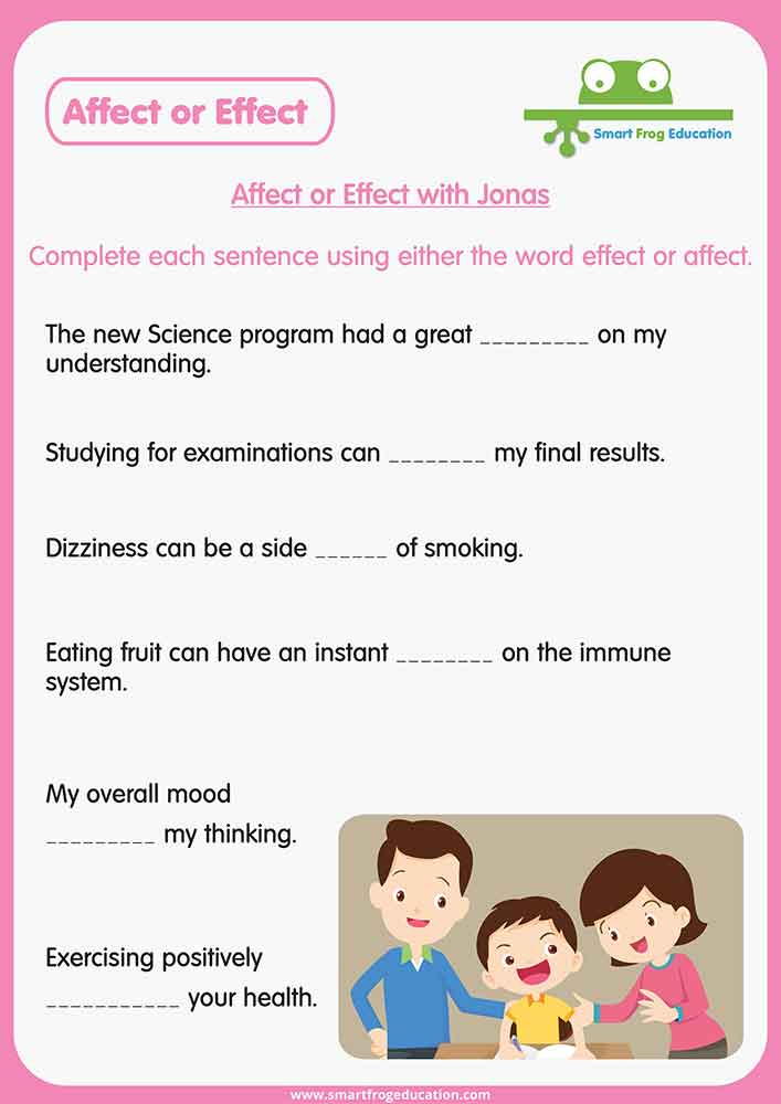 Affect Or Effect With Jonas Smart Frog. This Worksheet Provides Additional Practise With These Words By Focusing On Familiar To For Children Such As School Studying And Emotion. Worksheet. Affect And Effect Worksheet At Mspartners.co
